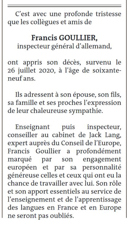 Annonce publiée dans Le Monde